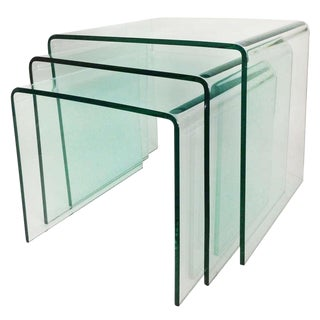 Bent Glass Nesting Tables (Set of 3)