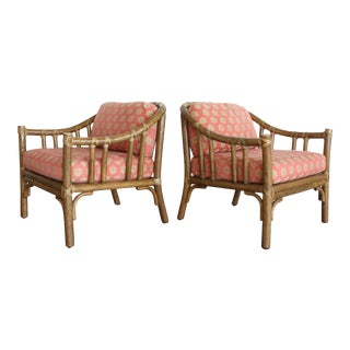 McGuire A-1 Rattan Barrel Back Lounge Chairs- A Pair