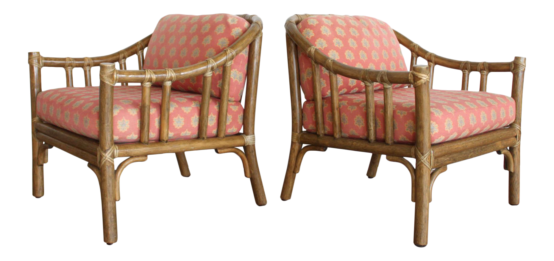 McGuire A 1 Rattan Barrel Back Lounge Chairs  A Pair