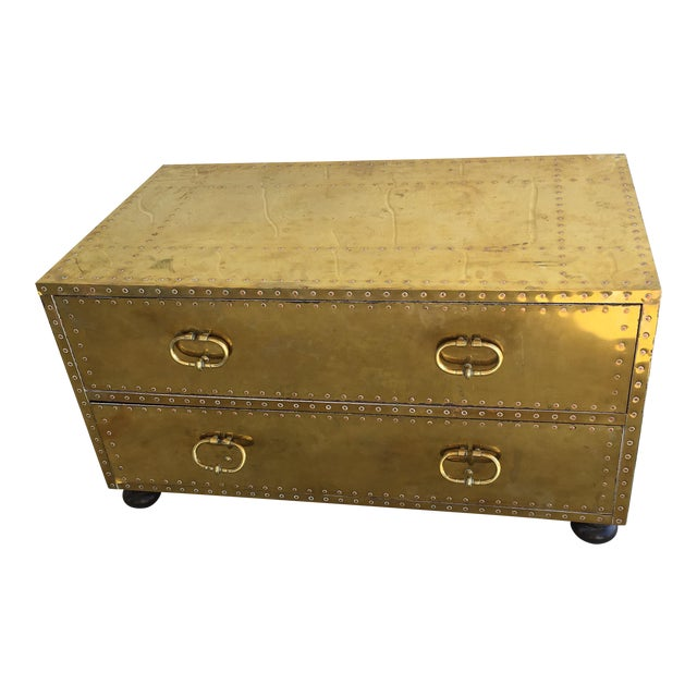 Sarreid LTD Brass Two-Drawer Coffee Table - Image 1 of 8