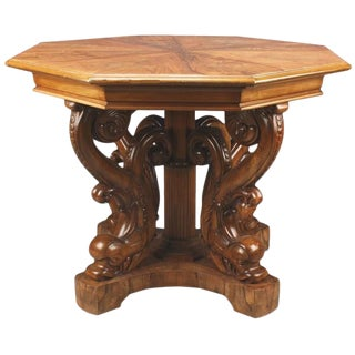 Danish 19th Century Neoclassical Octagonal Center Table with Dolphin Base