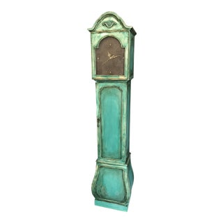 Turquoise Distressed Grandfather Clock