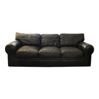 Maurice Villency Down Filled Black Leather Sofa
