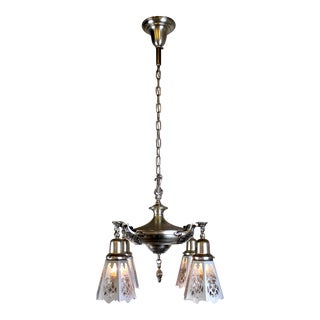 4 Light Silver Plate Fixture With Cut Out Shades.