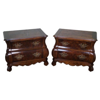 Henredon French Louis XV Style Bombe Walnut Nightstands - A Pair