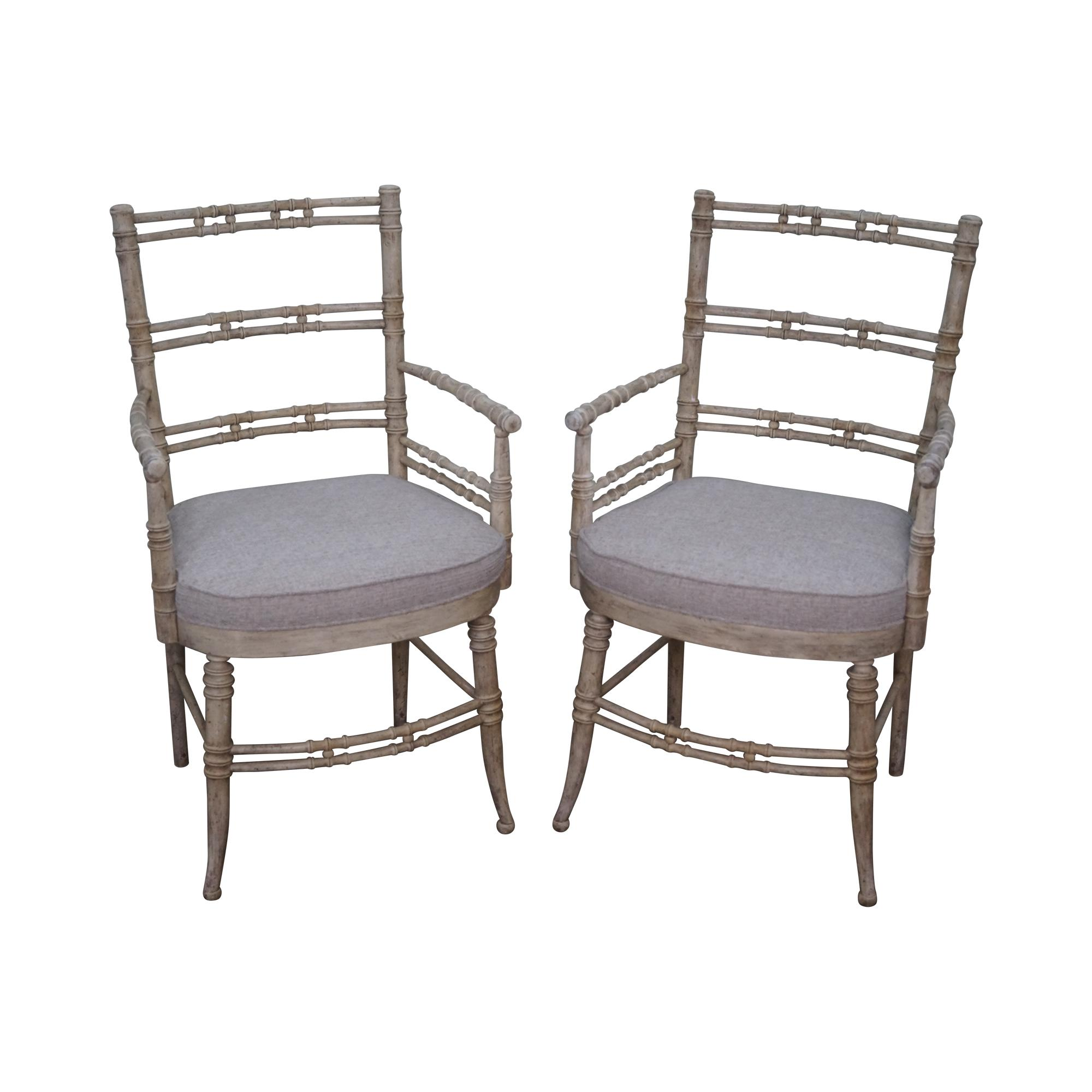 Vintage Painted Faux Bamboo Arm Chairs   A Pair