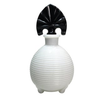 White Perfume Bottle With Black Stopper