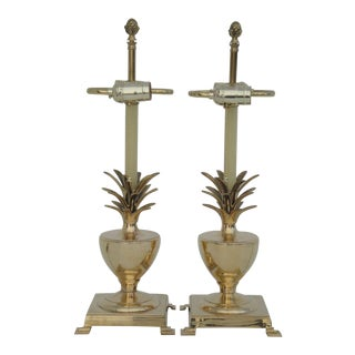 Pair Brass Petite Pineapple Urn Lamps