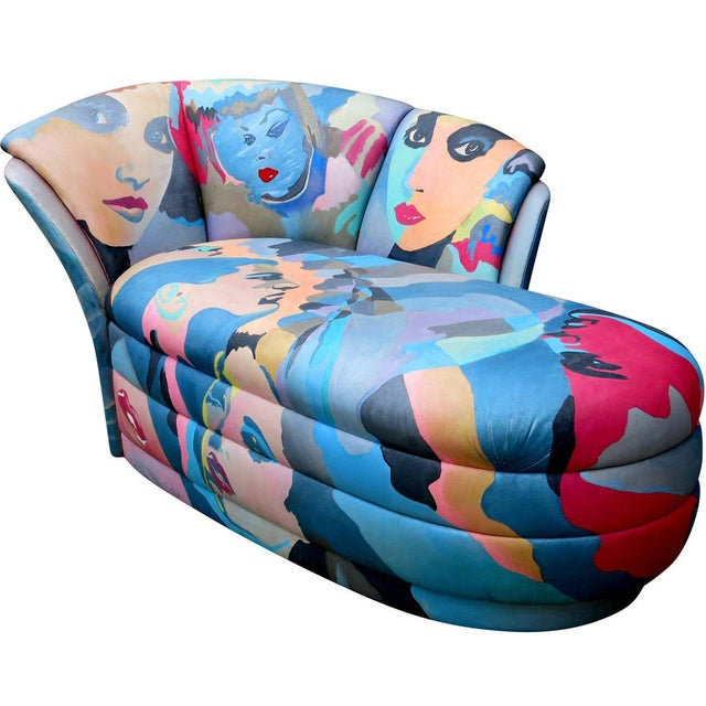Image of 1980s Hand-Painted Chaise by Robert Fisch