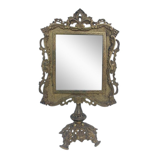 Antique French Ornate Gilt Metal Table Mirror - Image 1 of 11