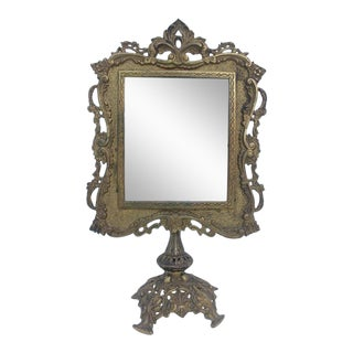 Antique French Ornate Gilt Metal Table Mirror