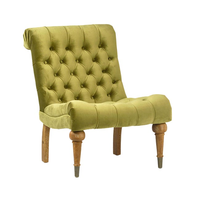 Olive Tufted Velvet Chair - Image 1 of 2