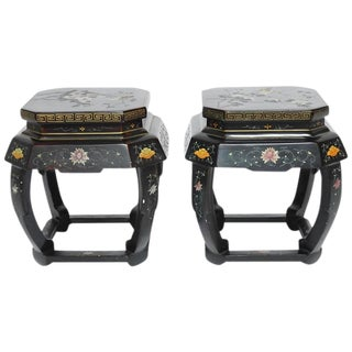Pair of Asian Lacquered Garden Stools or Drink Tables