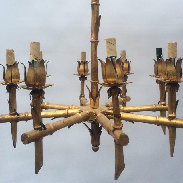 Gilded Metal Bamboo Chandelier - Image 4 of 6