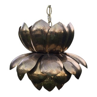 Tom Feldman Vintage Lotus Brass Chandelier