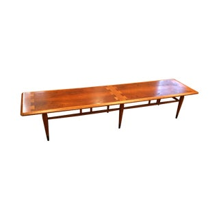 1960's Lane Bench 6 Legged Walnut Teak Bench