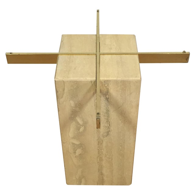 Modern Travertine & Brass End Table - Image 1 of 5