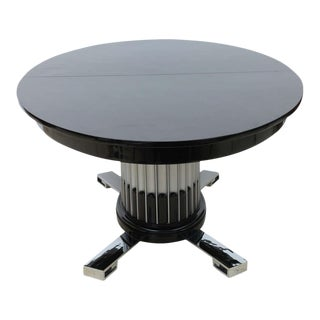 Black Lacquered, Chrome, and Silver Leaf Extension Dining Table by Paul Frankl