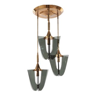 Italian Mid-Century Brass & Glass Light
