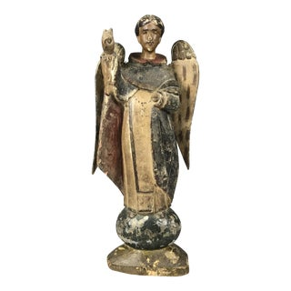 19th Century Carved Wood Religious Sculpture of San Vicente Ferrer