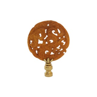 Asian Dragon Light Brown Stone Lamp Finial