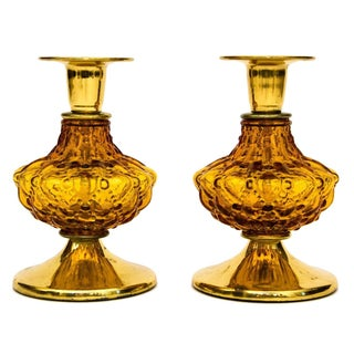 Brass &  Amber Glass Candle Holders - A Pair