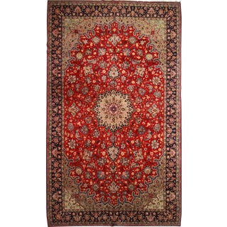 RugsinDallas Vintage Hand Knotted Wool Persian Najafabad Rug - 12′10″ × 21′6″