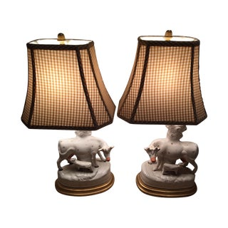Antique Staffordshire Cow With Baby Lamps - Pair