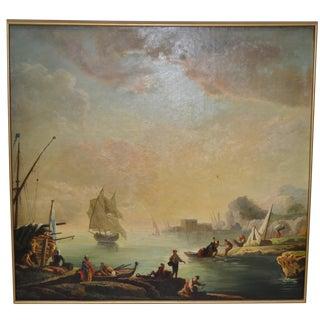 19th-C. Italian Coastal Port Landscape