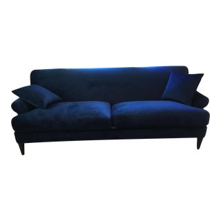 Contemporary Midnight Blue Velvet Sofa