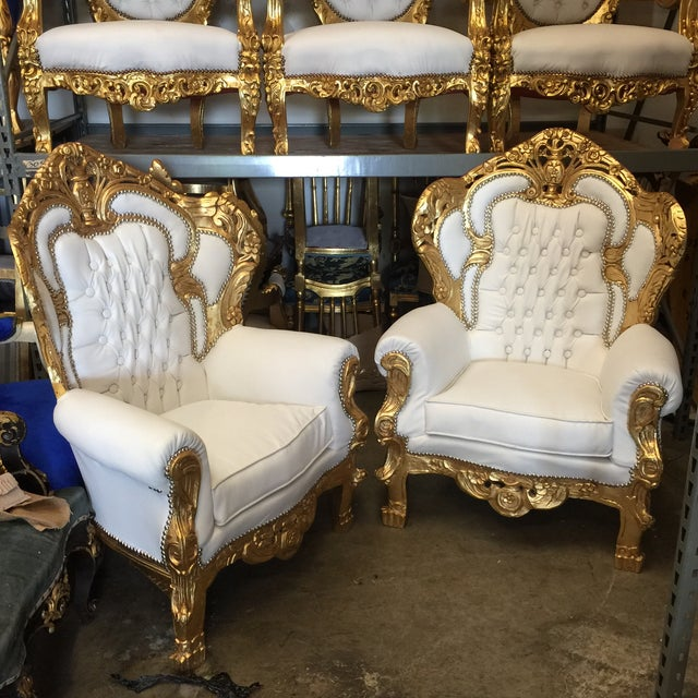 White Leather Tufted Throne Chairs - A Pair - Image 2 of 6