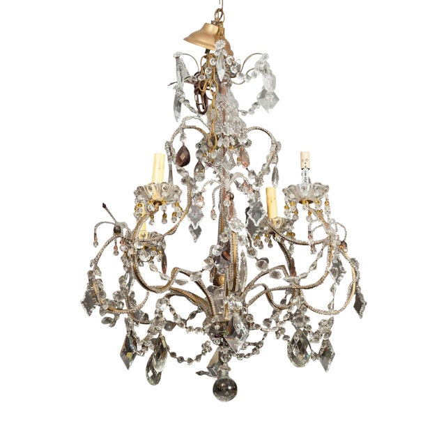 Antique French 4-Light Crystal Beaded Chandelier - Image 1 of 6