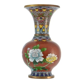 Chinese Red Cloisonné Vase