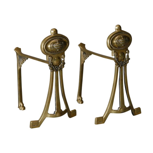 English Small Brass Andirons- A Pair - Image 1 of 6