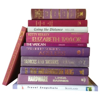 Purple Tone Decorative Books - Set of 11