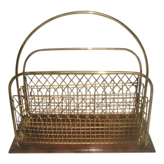Vintage Brass & Wood Magazine Rack
