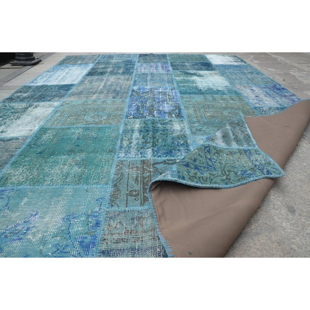 Blue Turkish Patchwork Rug - 6′10″ × 9′10″ - Image 6 of 6