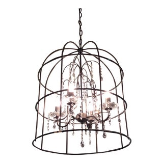 Wrought Iron & Crystal Chandelier