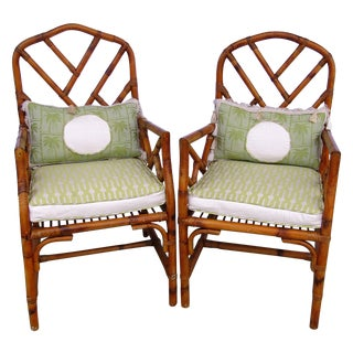 Chippendale Burnt Rattan Armchairs - Pair