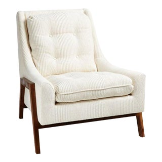 Tufted Mid-Century Chair in Ivory Cable Knit