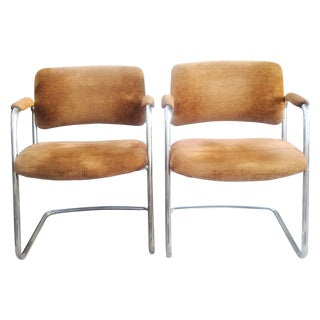 Vintage Chrome Cantilever Chairs - A Pair