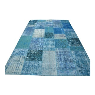 Blue Overdyed Patchwork Rug - 6′7″ × 9′11″