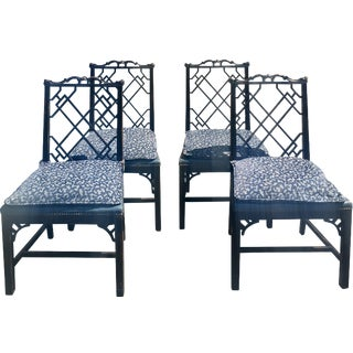 Chinese Chippendale Upholstered Chairs - Set of 4
