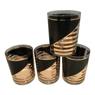 Culver Black & Gold Art Deco Rocks Glasses - Set of 4