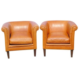 Bernhardt Brown Leather Club Chairs - A Pair