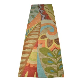 Attractive Multi-Colored Wool Runner in Deco Pattern