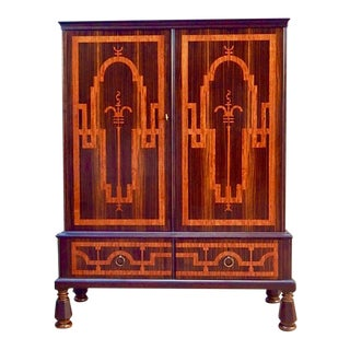 RARE SWEDISH ART DECO INLAID STORAGE CABINET - SMF, CIRCA 1920