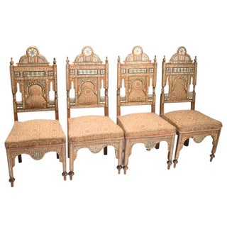 Antique Mother of Pearl Inlaid Chairs - Set of 4