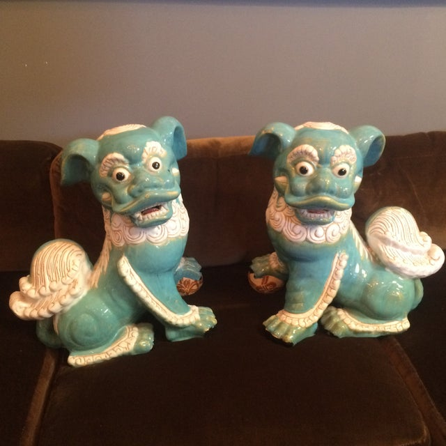 Image of Extra Large Vintage Foo Dog Statues - Pair