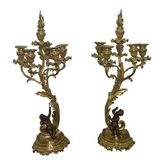 1870 Antique French Pair of Napoleon III Bronze and Ormolu Candelabra